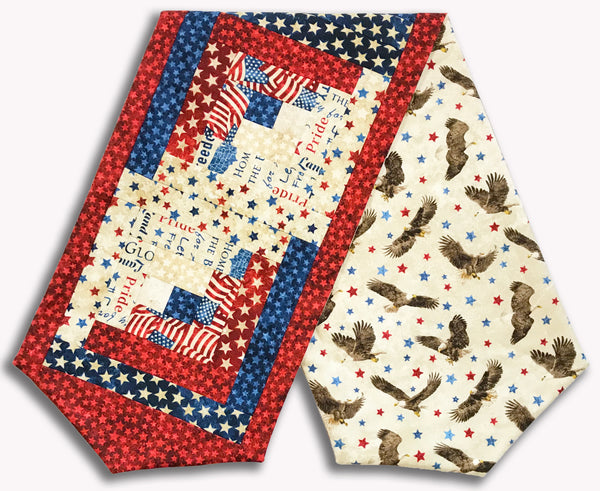 Northcott Americana Stars & Stripes Stonehenge Pre-Cut Log Cabin Table Runner Kit - Star-Spangled