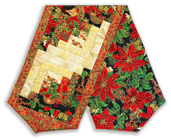 Jordan Fabrics Pre-Cut Log Cabin Table Runner Kit - Christmas Blossom Joy