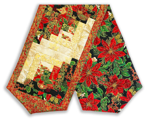 Jordan Fabrics Pre-Cut Log Cabin Table Runner Kit - Christmas Blossom