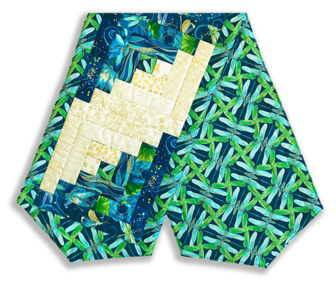 Kanvas Pre-Cut Log Cabin Table Runner Kit - Dragonfly Lagoon Night