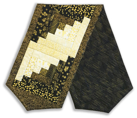 Kanvas Pre-Cut Log Cabin Table Runner Kit - Metallic Mixers Gold