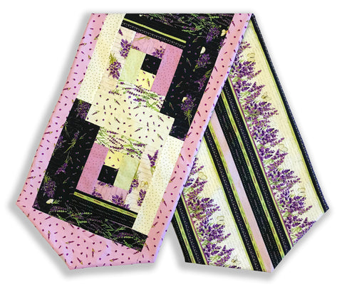Clothworks Pre-Cut Log Cabin Table Runner Kit - Sweet Lavender