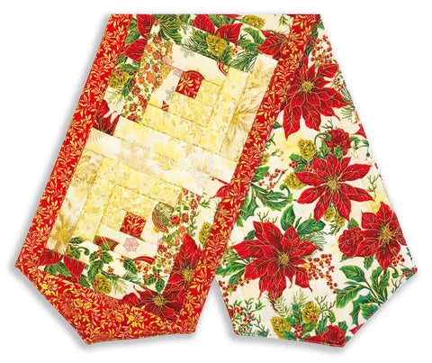 Jordan Fabrics Pre-Cut Log Cabin Table Runner Kit - Christmas Blossom Light