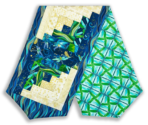 Kanvas Pre-Cut Log Cabin Table Runner Kit - Dancing Dragonflies Lagoon