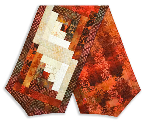 In the Beginning Pre-Cut Log Cabin Table Runner Kit - Diaphanous Mahogany