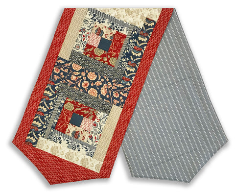 Moda French General Pre-Cut Log Cabin Table Runner Kit - Vive La France