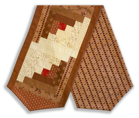 Moda Pre-Cut Log Cabin Table Runner Kit - Jo Morton MOCHA