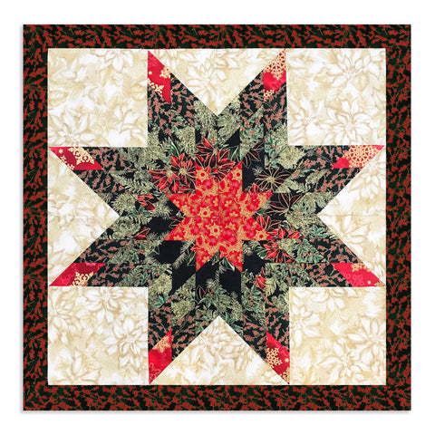 Holiday Metallic Lone Star Jelly Roll Quilt Kit - Christmas Wishes