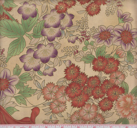 Hoffman Metallic Asian Floral M7411 164G Large Florals on Beige by the yard