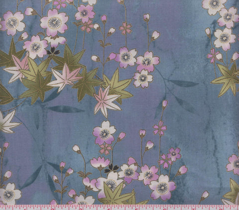 Hoffman Metallic Asian Print M7412 223G Pink and White Flowers on Blue by the yard