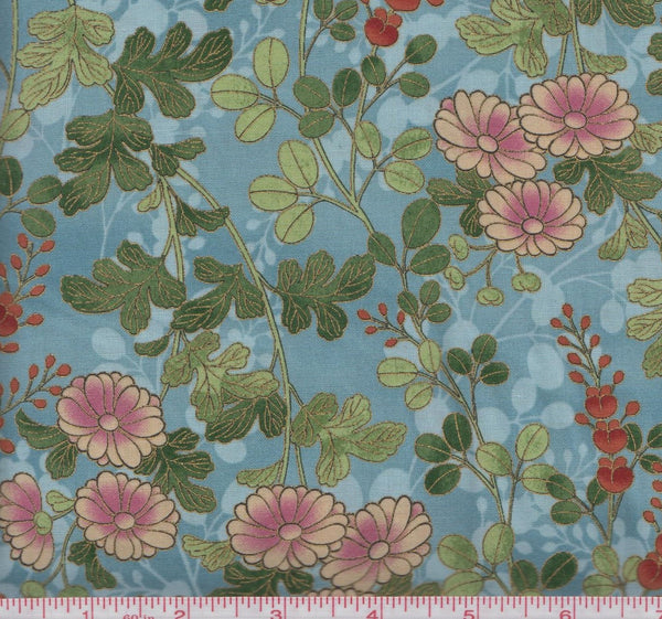 Hoffman Metallic Asian M7413 243G Florals and Leaves on Delft Blue by the yard