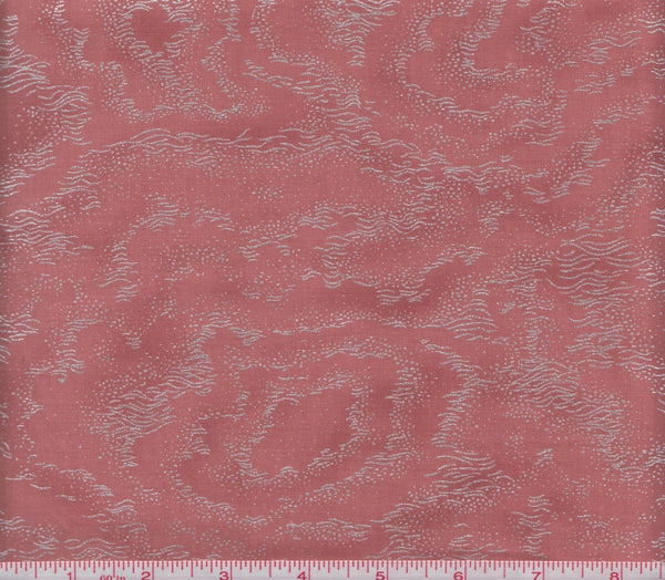 Hoffman Metallic Asian Print M7415 193 Floating Metallic Pattern on Blush Rose by the yard