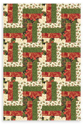 Moda Christmas 24 Block Pre-cut Rail Fence Quilt Kit - Magnolia Metallics