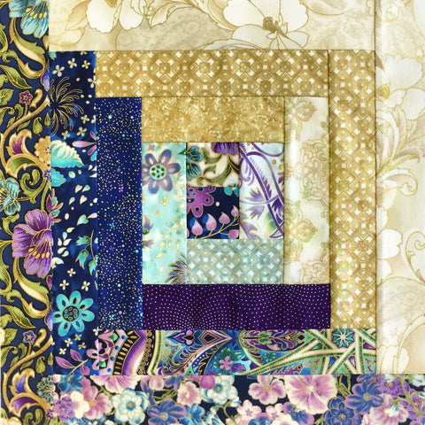 Robert Kaufman Metallic Pre-cut JUMBO 12 Block Log Cabin Quilt Kit - Jumbo Majolica