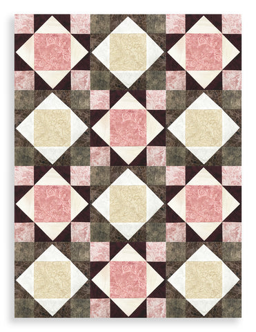 RJR Jinny Beyer Pre-Cut 12 Block King's Crown Quilt Kit - Miyako