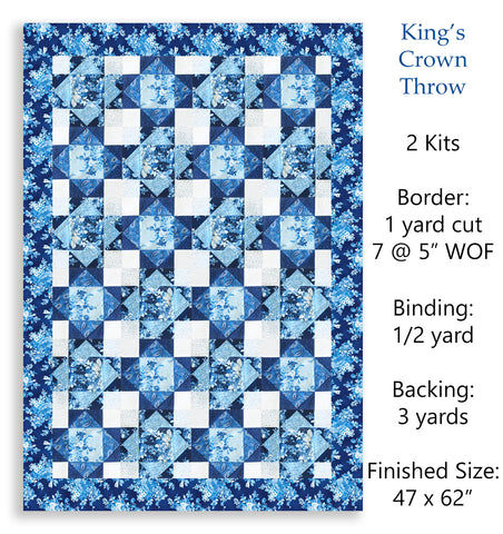 Robert Kaufman Blue Flowers Pre-Cut 12 Block King's Crown Quilt Kit - Mayfield