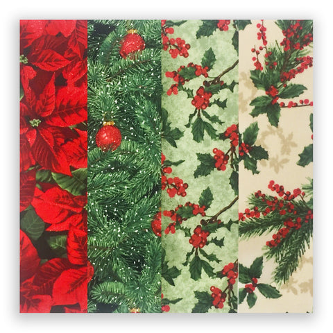RJR Christmas Metallic Pre-Cut 24 Block Rail Fence Quilt Kit - Merry, Berry, & Bright