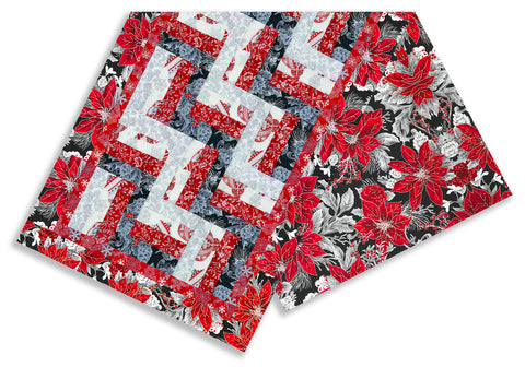 Mini Rail Fence Runner Kit - Includes  Pre-cut Quarter Yards - Jordan Fabrics - Christmas Blossom