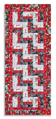 Mini Rail Fence Runner Kit - Includes  Pre-cut Quarter Yards - Jordan Fabrics - Christmas Blossom Silver