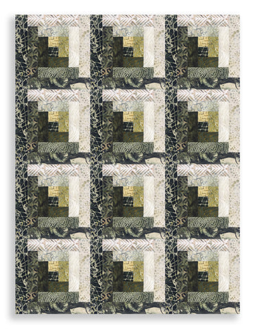 Hoffman Batik Pre-Cut 12 Block Log Cabin Quilt Kit - Morning Meadow