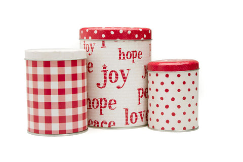 Moda 3 Piece Tin Canister Set - Overnight Delivery