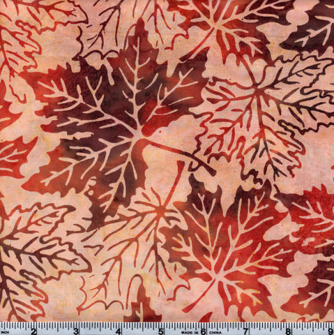 Hoffman Bali Batik ORA 4027 Harvest Leaf Outline By The Yard