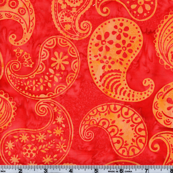 Hoffman Bali Batik ORG 4072 Sherbet Paisley By The Yard