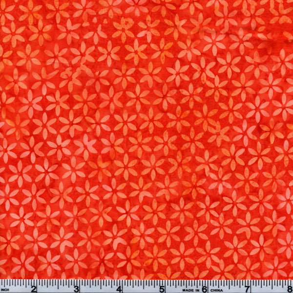 Hoffman Bali Batik ORG 4079 Orange Soda Small Flowers By The Yard