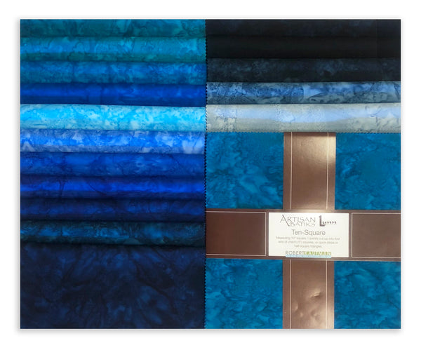 "Robert Kaufman Artisan Batiks 229 42 Pre-Cuts 42 - 10"" Squares - Open Waters"