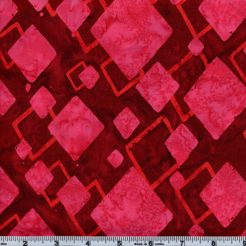 Hoffman Bali Batik PNK 4098 Ruby Rose Diamonds By The Yard