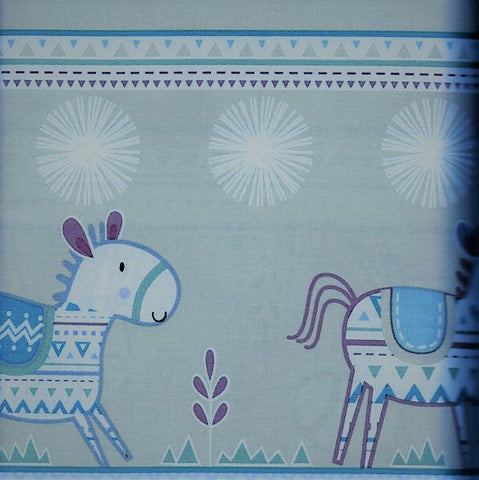 Free Spirit Dena Designs Happi Horses PWDF218 Turquoise Horses By The Yard