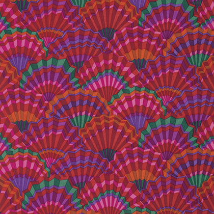 Free Spirit Kaffe Fassett PWGP143 Red Paper Fans By The Yard