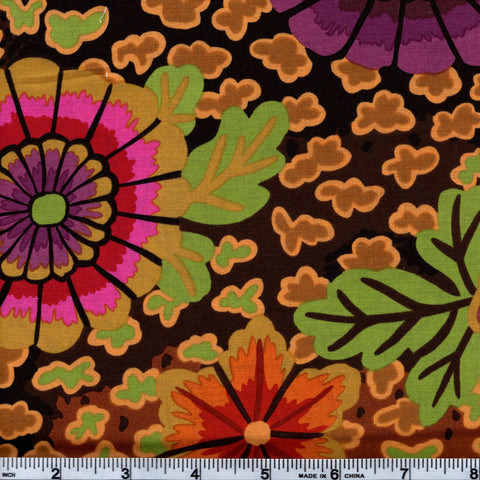 Rowan Kaffe Fassett PWGP148 Large Multi-Color Floral On Brown By The Yard