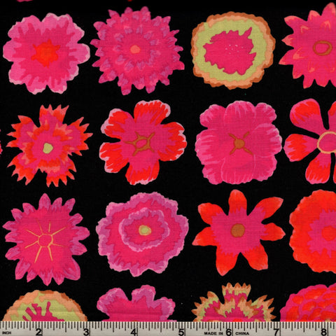 Free Spirit Kaffe Fassett PWGP152 Black with Med. Pink Button Flowers By The Yard