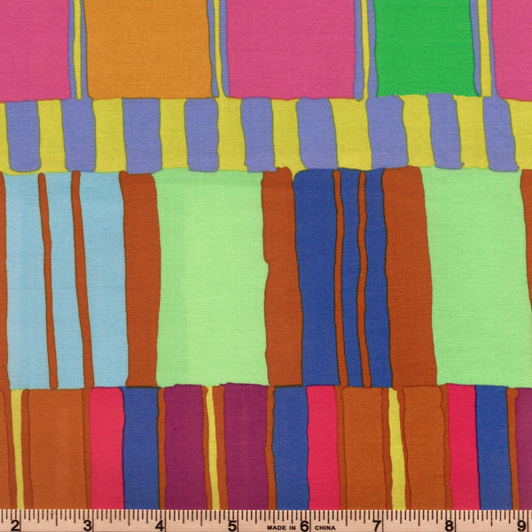 Free Spirit Kaffe Fassett Artisan PWKF003 Blue Layered Stripes By The Yard