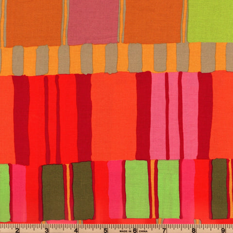 Free Spirit Kaffe Fassett Artisan PWKF003 Red Layered Stripes By The Yard
