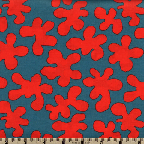 Free Spirit Kaffe Fassett Artisan PWKF005 Red Squiggle Flowers By The Yard