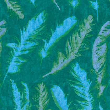 Free Spirit Nel Whatmore Ghost PWNW082 Green Feather By The Yard