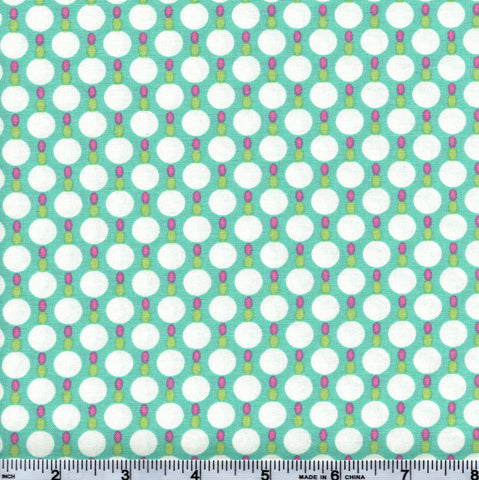 Free Spirit Tanya Whelan White Polka Dots On Blue/Green By The Yard