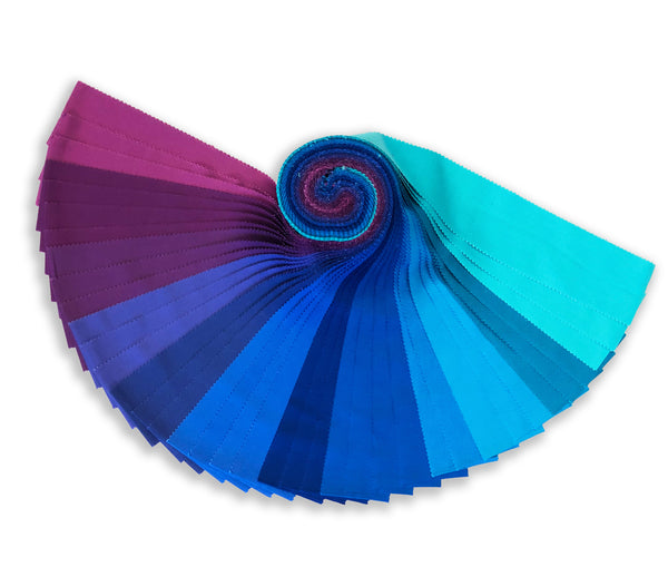 Robert Kaufman Kona Pre-Cuts 40 Piece Roll Up - RU 770 40 Designer Palette - Peacock
