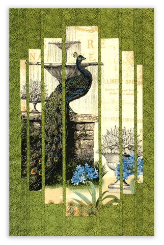 Kaufman Pre-Cut Asian Metallic Secret Window Panel Wall Hanging Quilt Kit - Peacock