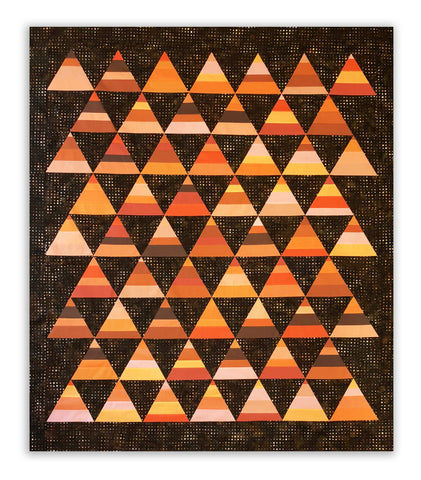 "Peaks in Orange & Brown 62 x 75"" Fully Finished Sample Quilt"