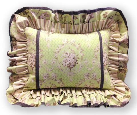 Jordan Fabrics VIDEO BUNDLE Double Ruffle Pillow Cover - Jardin Gris Green