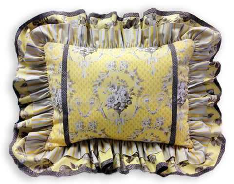 Jordan Fabrics VIDEO BUNDLE Double Ruffle Pillow Cover - Jardin Gris Yellow