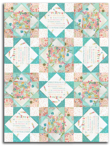 Art Gallery Fabrics Pre-Cut 12 Block King's Crown Quilt Kit - Playroom