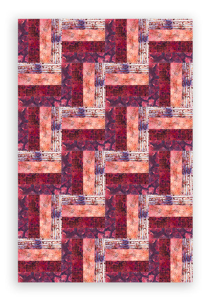 Hoffman Bali Batiks Pre-Cut 24 Block Rail Fence Quilt Kit - Pomegranate Punch