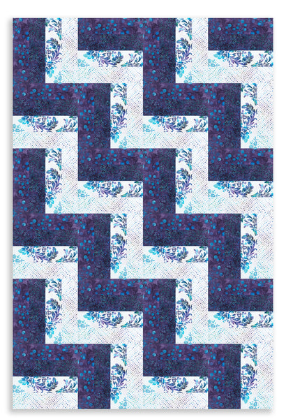 Hoffman Batik Pre-Cut 24 Block Rail Fence Quilt Kit - Purple Paradise
