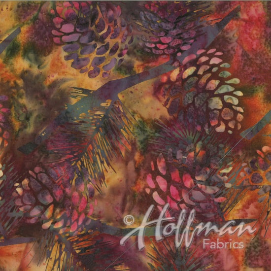 Hoffman Bali Batiks 2132 428 Pine Reflections in Mulberry By The Yard