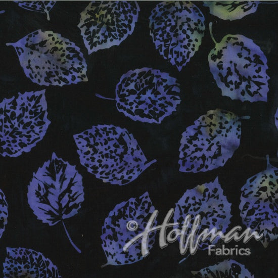 Hoffman Bali Batiks 2133 197 Shadowed Leaves Black Grape By The Yard