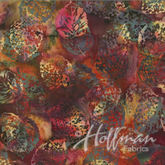 Hoffman Bali Batiks 2133 428 Shadowed Leaves Mulberry Mix By The Yard